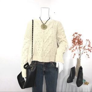 LC Lauren Conrad Ivory Cable Knit Cropped Sweater